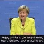 Angela Merkel's 60th Happy Birthday fail